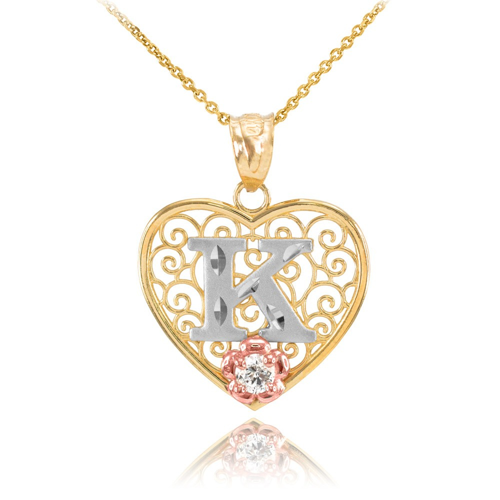 Cz Precision Cut Filigree Heart Letter K Necklace In 9ct Two Tone Gold In Most Recent Letter K Alphabet Locket Element Necklaces (Gallery 7 of 25)