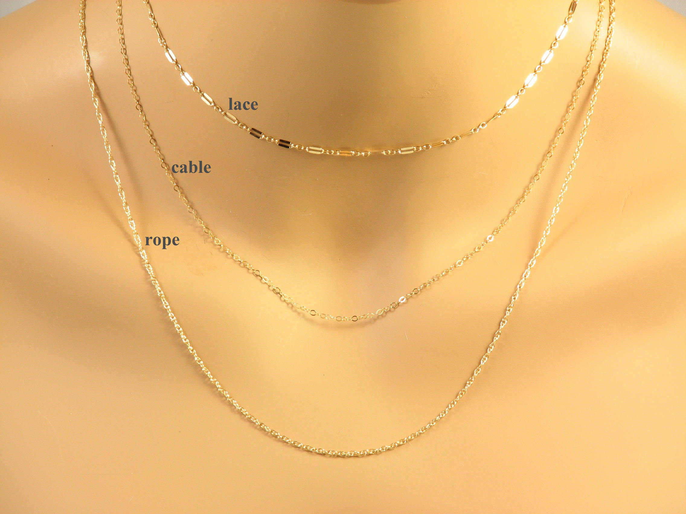 Dainty Chain Necklace, Lace Chain, Cable Chain, Rope Chain, Long Gold  Chain, Long Silver Chain, Understated Jewelry Intended For Best And Newest Classic Cable Chain Necklaces (Gallery 21 of 25)