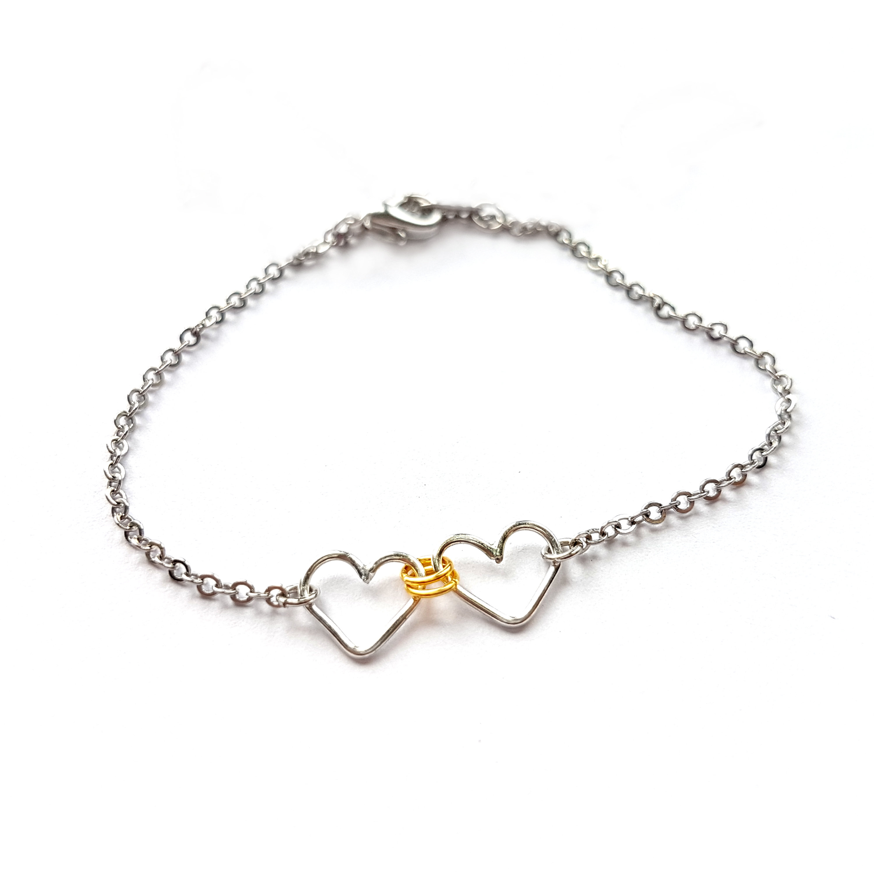 Dainty Linked Heart Bracelet, Delicate Silver Bracelet With Two Interlinked  Hearts, Unique Personalized Gifts For Sister Or For Best Friend Intended For Latest Two Sparkling Hearts Rings (View 1 of 25)