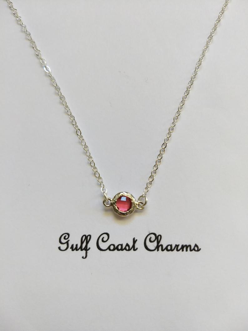 Dainty Ruby Crystal Necklace, Pink Ruby Choker, Pink Crystal Pendant –  Silver Bezel, July Birthstone, Delicate – Layering  Simple In Latest Red July Birthstone Locket Element Necklaces (Gallery 15 of 25)