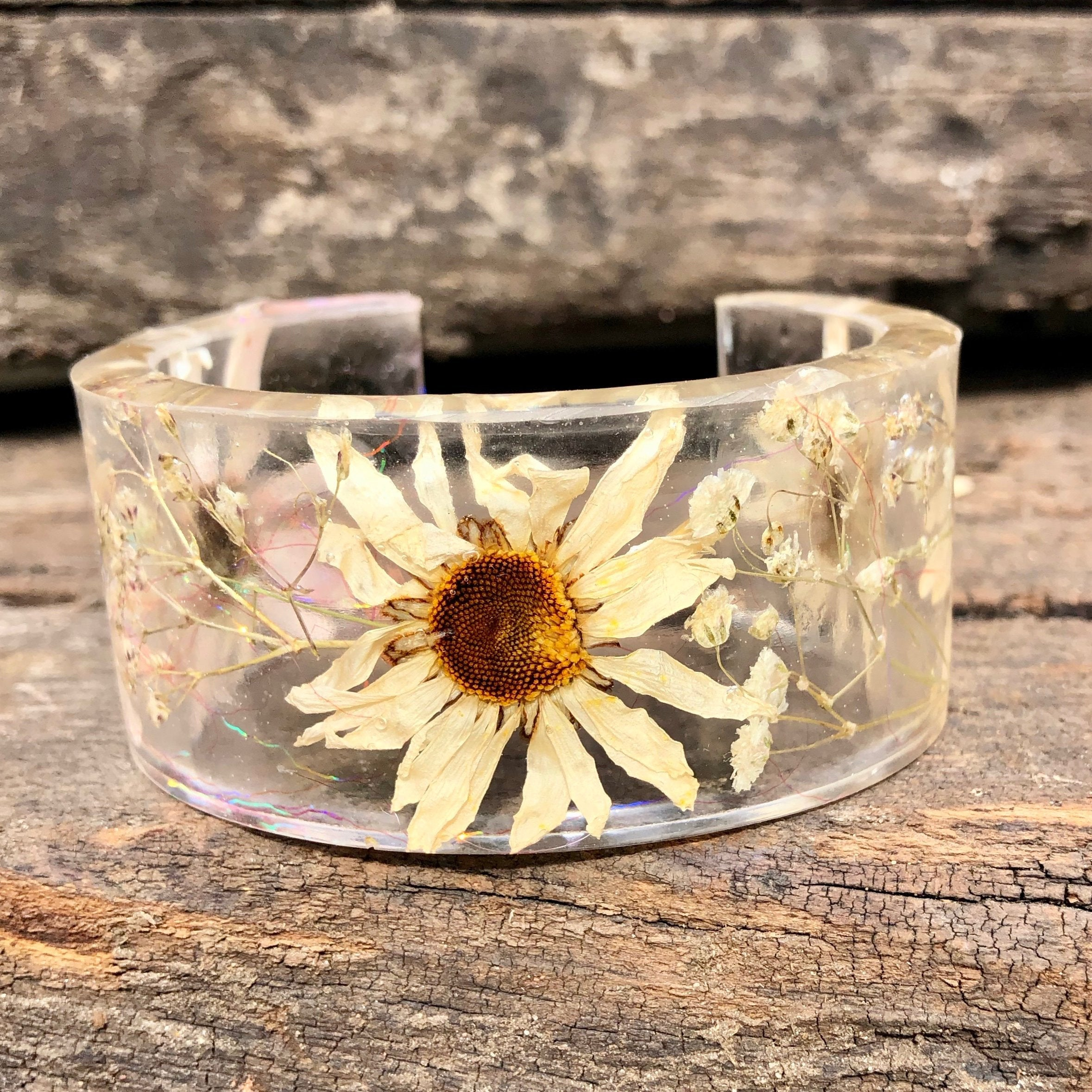 Daisy Cuff, Real Flower Cuff, Pressed Flower Cuff, Resin, Cuff, Medium, Daisies, Gypsophila, Baby's Breath, Wildflower Cuff, Resin Bangle With Regard To Current Sparkling Daisy Flower Rings (View 13 of 25)