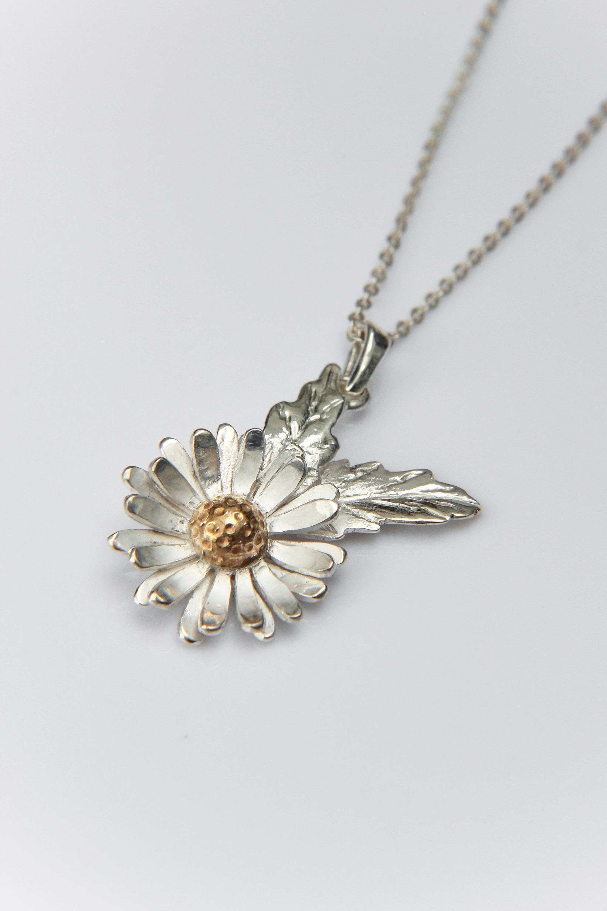 Daisy Flower Pendant Handmade In Sterling Silver With Gold Plating Within Current Pink Cherry Blossom Flower Locket Element Necklaces (View 11 of 25)