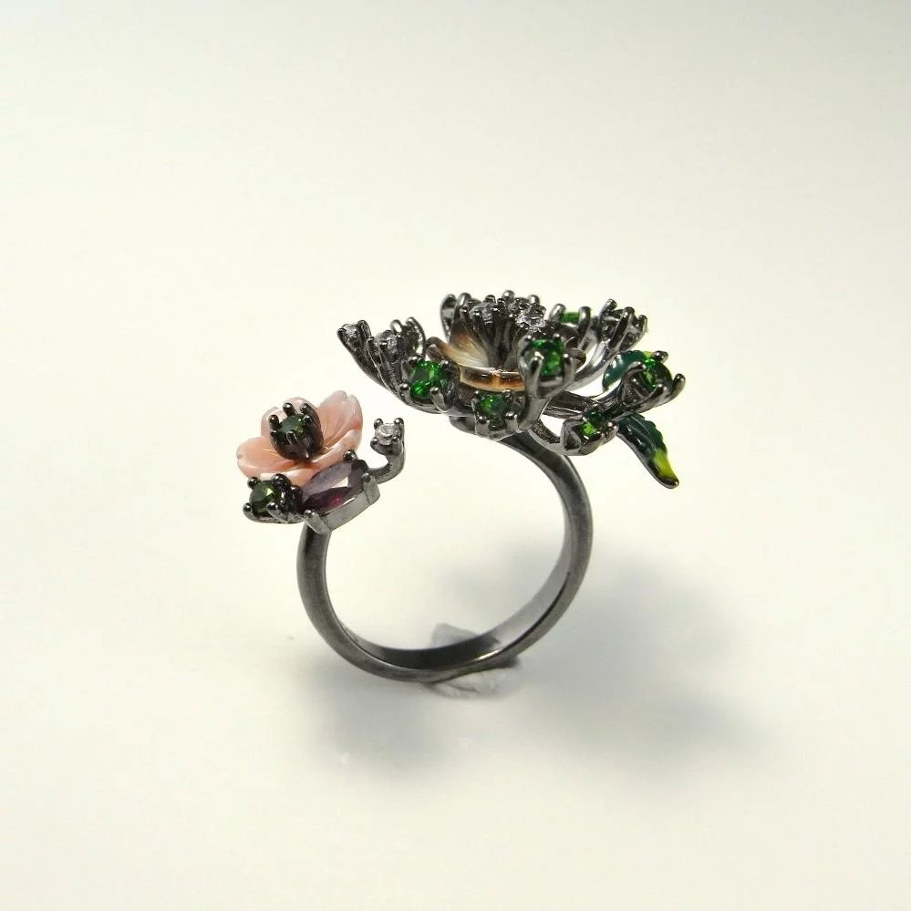 Daisy Flower Ring Sterling Silver Black Rhodium Garden Floral Chrome  Tourmaline Ring White Sapphire Almandine Garnet Artisan Mother Of Pearl  Boho Throughout Current Daisy Flower Rings (View 7 of 25)