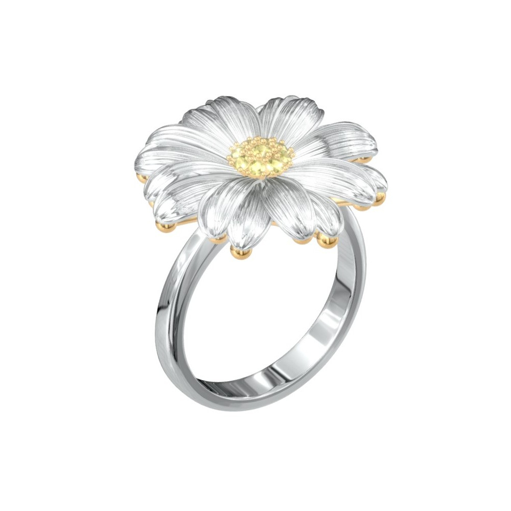 Daisy Ring, Ballis Ring, Flower Ring – Biddesigner Pertaining To Best And Newest Daisy Flower Rings (View 7 of 25)