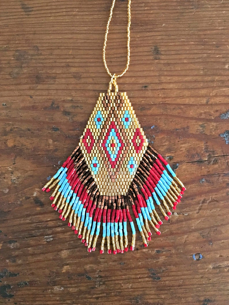 Dakota Pendant Necklace In Gold Red Turquoise ~ Hand Beaded Pendant Necklace ~ Bohemian Jewelry ~ Native American Jewelry Inside Most Current Sparkling Pattern Necklaces (View 15 of 25)