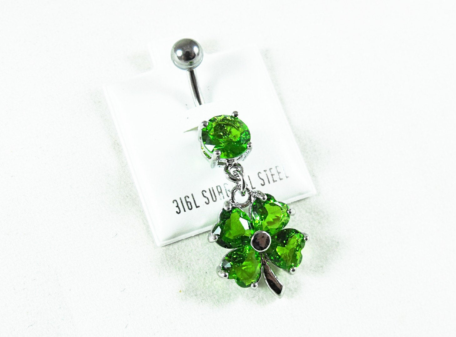 Dangle Belly Ring, Cz Green Shamrock Or Four Leaf Clover Womens Gift Pertaining To Most Up To Date Dangling Four Leaf Clover Rings (View 9 of 25)