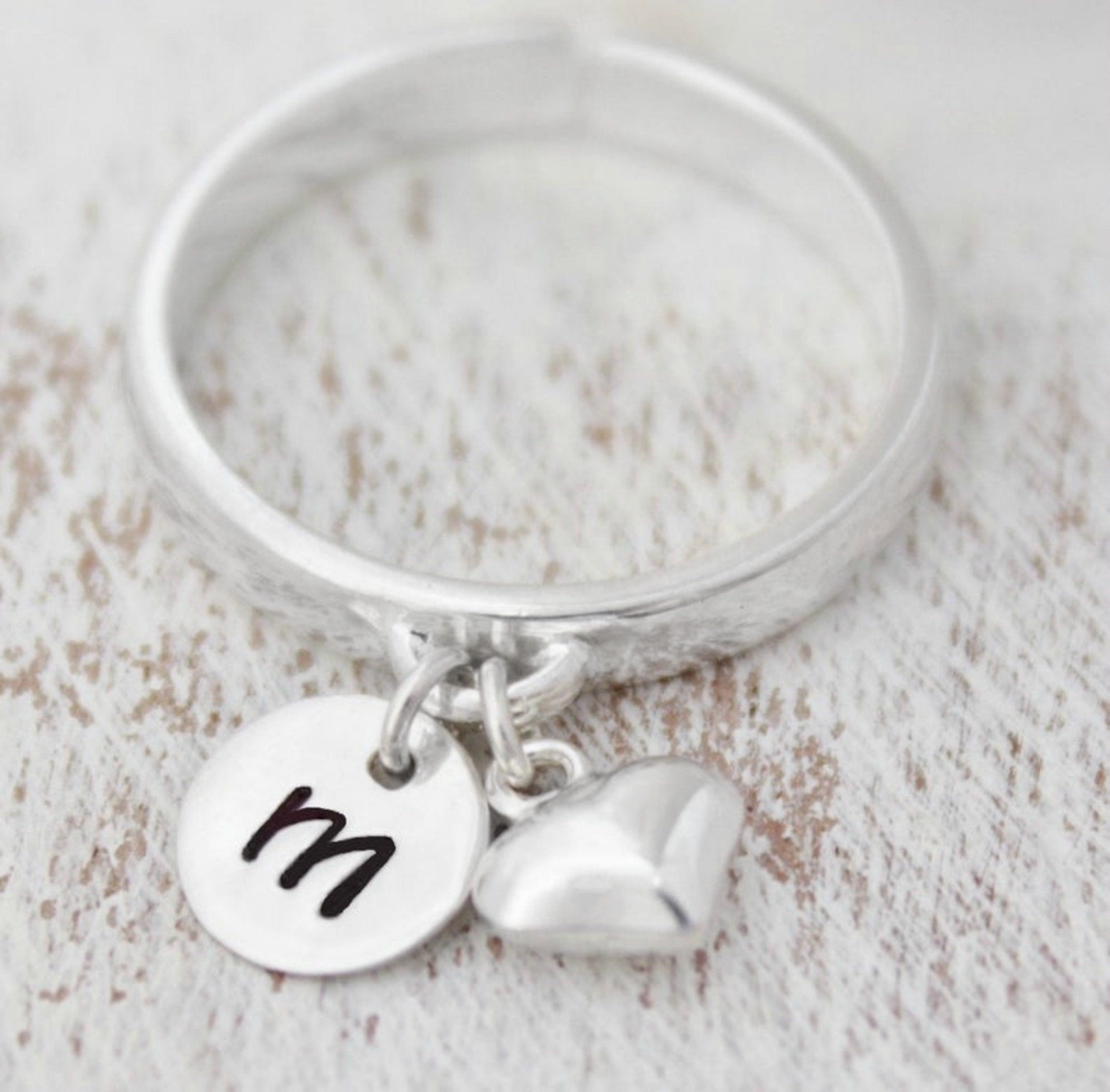 Dangling Initial Ring, Dangling Charm Ring, Personalized Rings, Dainty Stacking Rings, Minimalist Rings, Statement Ring In Best And Newest Dangling Family Tree Rings (View 14 of 25)