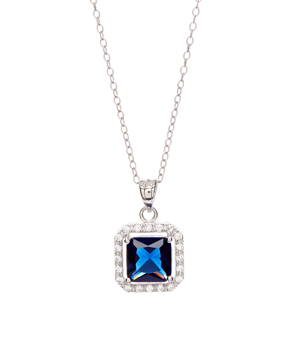 Dark Blue Cubic Zirconia Princess Cut Halo Necklace Throughout Newest Sparkling Square Halo Pendant Necklaces (Gallery 22 of 25)