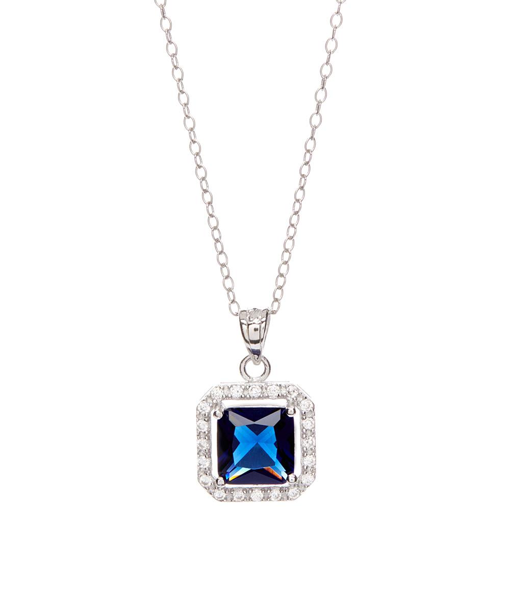Dark Blue Cubic Zirconia Princess Cut Halo Necklace With 2019 Sparkling Square Halo Pendant Necklaces (Gallery 22 of 25)