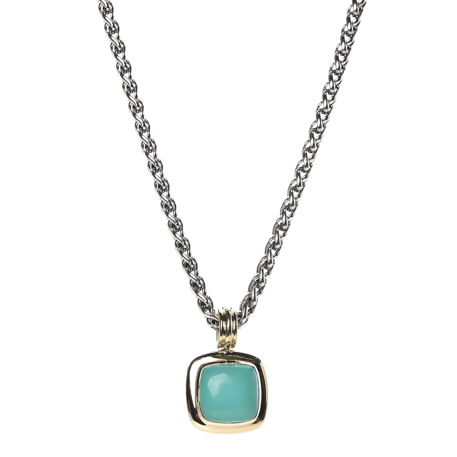 David Yurman Sterling Silver 18K Yellow Gold Turquoise 14Mm Albion Wheat  Chain Pendant Necklace With Newest Wheat Pendant Necklaces (Gallery 22 of 25)