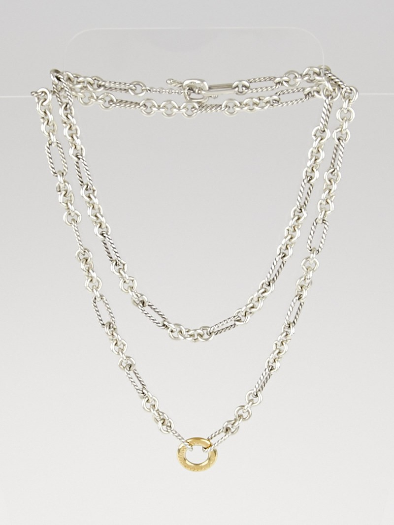 David Yurman Sterling Silver And 18K Gold Figaro Cable Chain Link 32 Within Most Up To Date Long Link Cable Chain Necklaces (View 11 of 25)