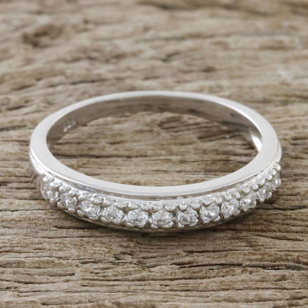 Dazzling Sterling Silver And Cz Band Ring From Thailand, 'simple Dazzle' For Current Simple Sparkling Band Rings (View 11 of 25)