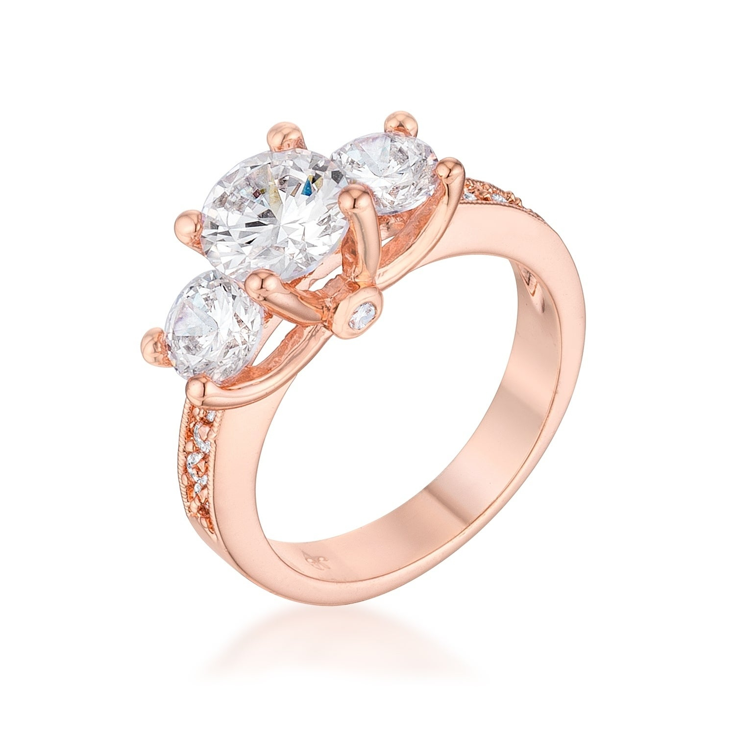 Dazzling Three Stone Engagement Ring With Cz – Clear With Regard To Most Recent Clear Three Stone Rings (Gallery 22 of 25)