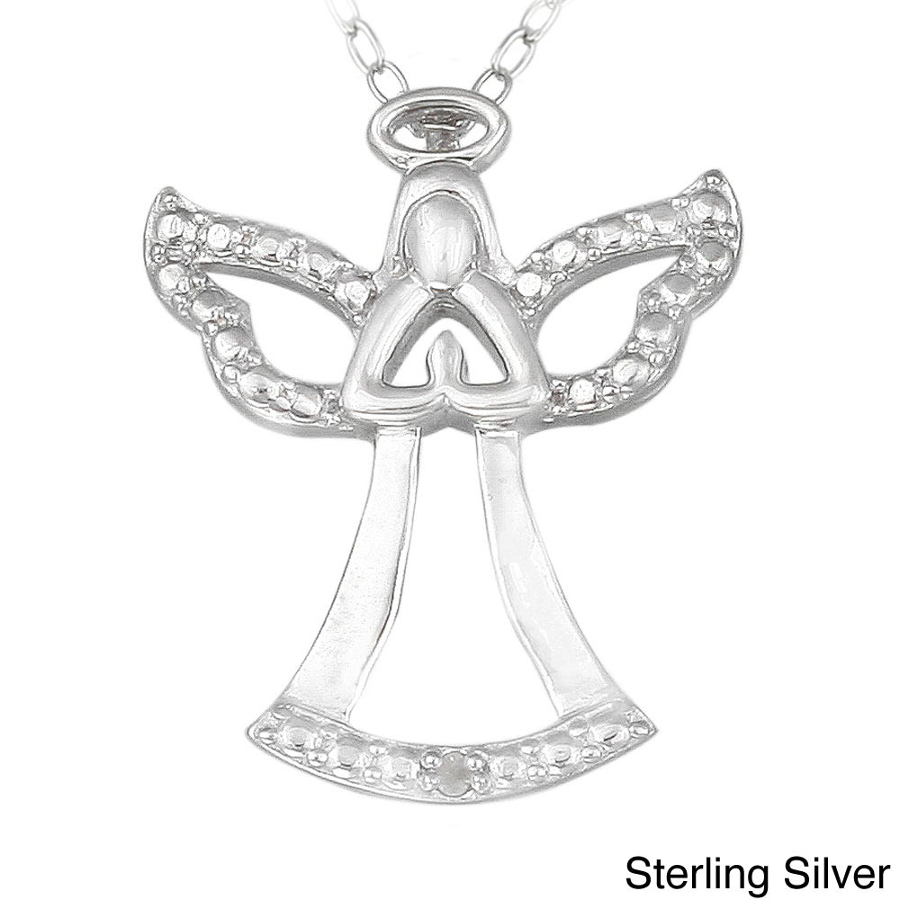 Db Designs Sterling Silver Diamond Accent Praying Angel Silhouette Necklace Within Most Current Pavé Angel Wing Locket Element Necklaces (View 11 of 25)