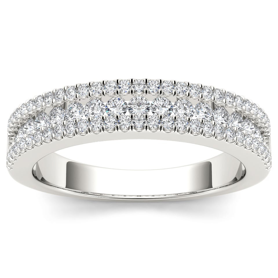 De Couer Igi Certified 14K Gold 3/4Ct Tdw Diamond Multi Row Womens  Anniversary Band Within Most Up To Date Diamond Multi Row Anniversary Bands In White Gold (View 10 of 25)