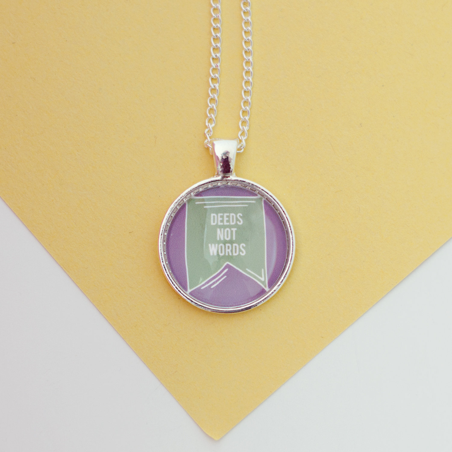 Deeds Not Words Necklace, Suffragettes, Feminist Necklace, Women's Rights Necklace, Feminism Jewellery, Feminism Jewelry, Feminist Jewellery Pertaining To 2020 Female Empowerment Motto Pendant Necklaces (View 18 of 25)