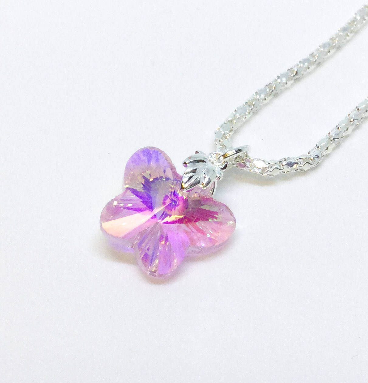 Delicate Ab Crystal Cut Glass Pendant Necklace. Butterfly Crystal Fairy Necklace. Magical Crystal Necklace. Gift For Her (View 12 of 25)