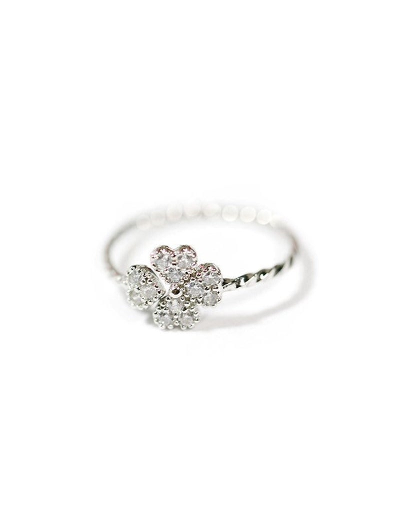 Delicate Clover Ring – Lucky Ring – Adjustable Ring – Simple Ring – St (View 5 of 25)