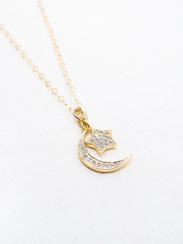 Delicate Gold Cz Moon Star Necklace – Hoku'ukali In 2019 | Gold Throughout 2019 Polished Moon & Star Pendant Necklaces (View 6 of 25)