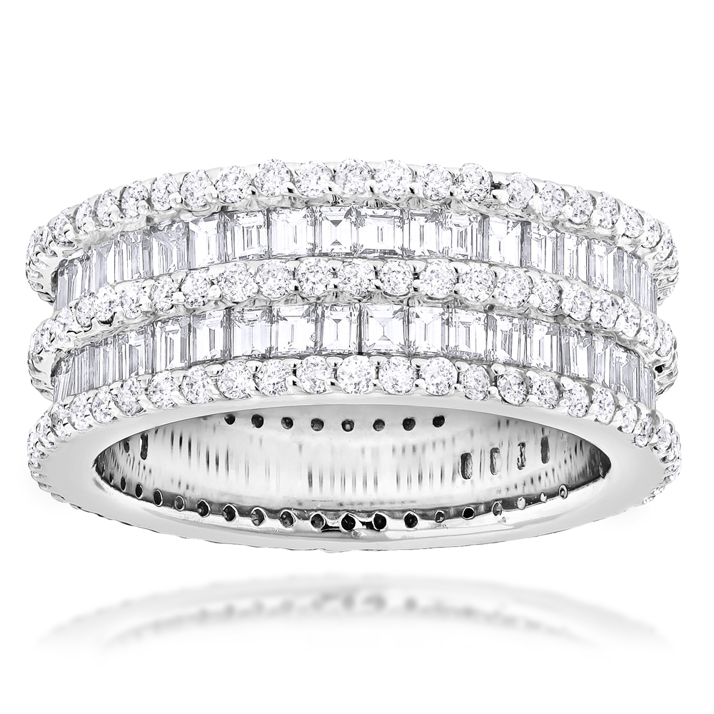 Designer Eternity Rings 4.5 Carat Round Baguette Diamonds Band 14K Gold Intended For Most Recent Round And Baguette Diamond Anniversary Bands In White Gold (Gallery 10 of 25)