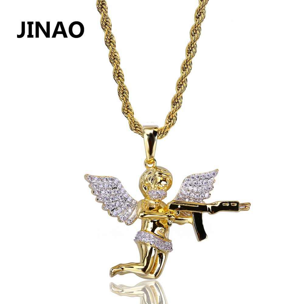 Detail Feedback Questions About Jinao Men Fashion Iced Out Gold Regarding Best And Newest Pavé Angel Wing Locket Element Necklaces (View 12 of 25)