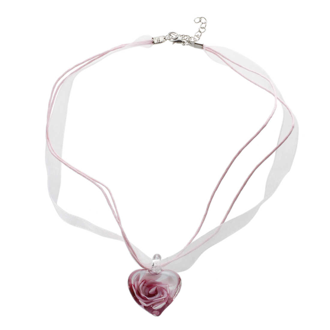 Detail Feedback Questions About Murano Glass Heart Flower 25Mm With 2019 Pink Murano Glass Leaf Pendant Necklaces (Gallery 14 of 25)