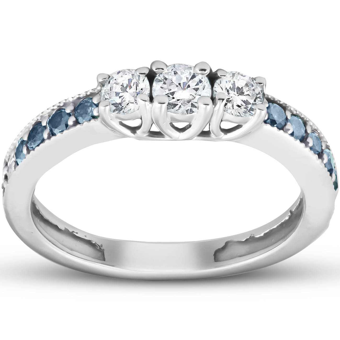Details About 1/2 Ct Blue & White Diamond Three Stone Engagement  Anniversary Ring White Gold In 2020 Enhanced Blue And White Diamond Anniversary Bands In White Gold (Gallery 2 of 25)