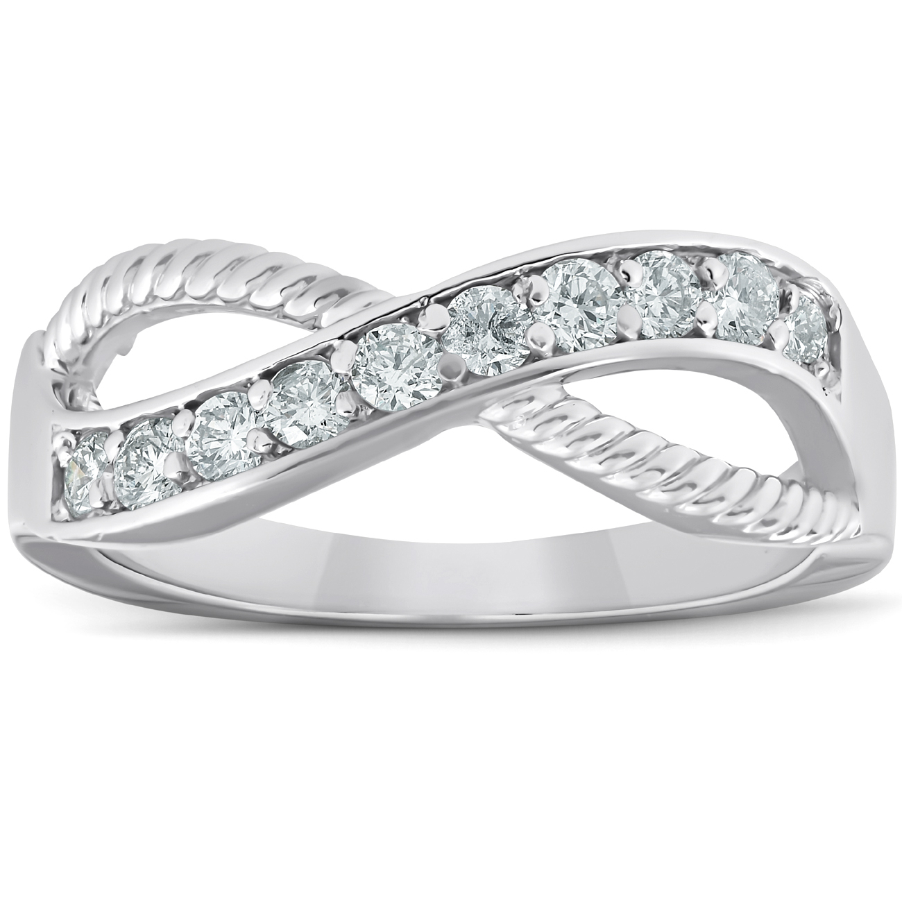 Details About 1/2 Ct Diamond Infinity Braided Anniversary Right Hand Ring 10k Whie Gold Within Current Diamond Braid Anniversary Bands In White Gold (View 14 of 25)