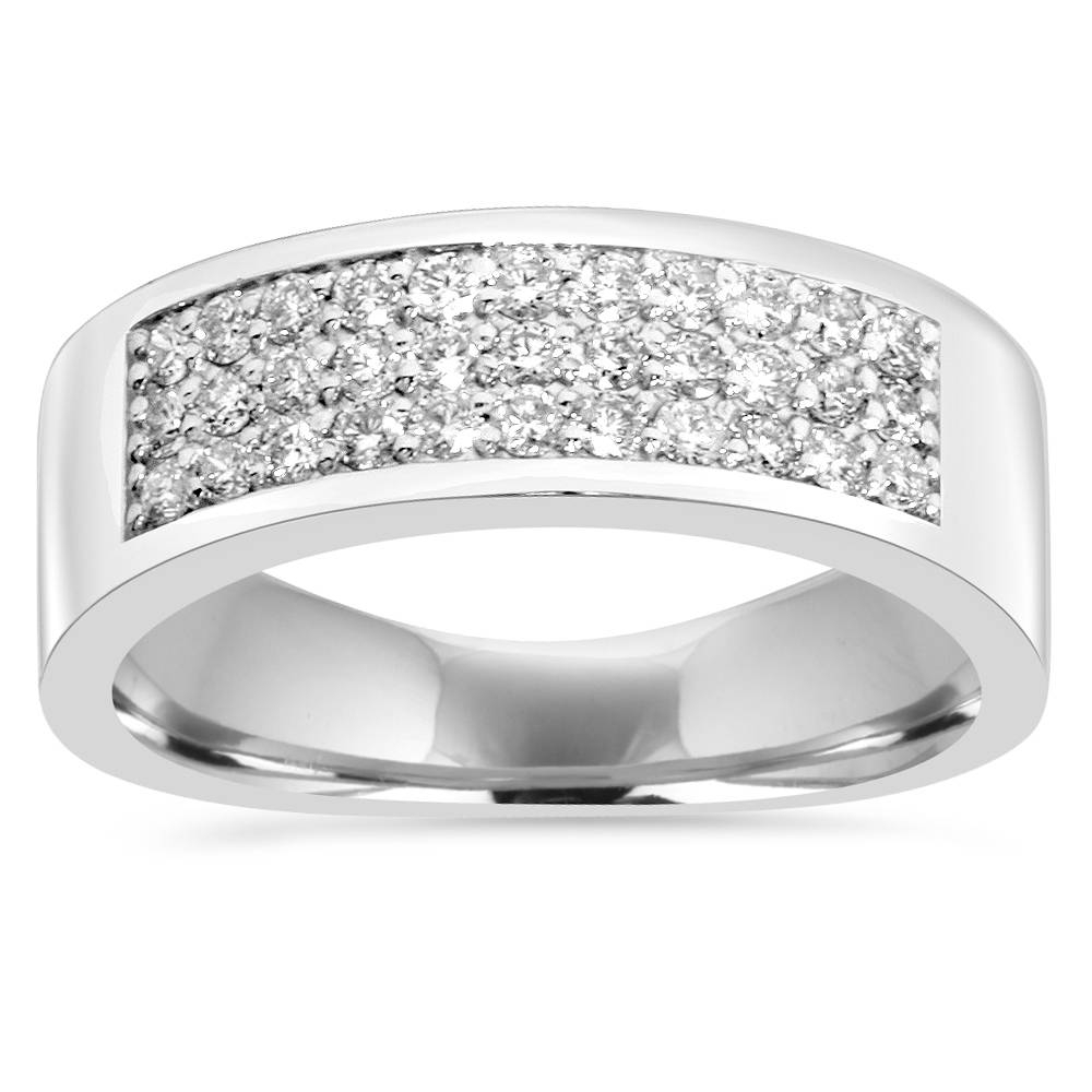 Details About 1/2 Ct Diamond Pave Wedding Womens Multi Row Anniversary Ring  14K White Gold Intended For Current Diamond Multi Row Anniversary Rings In White Gold (View 10 of 25)
