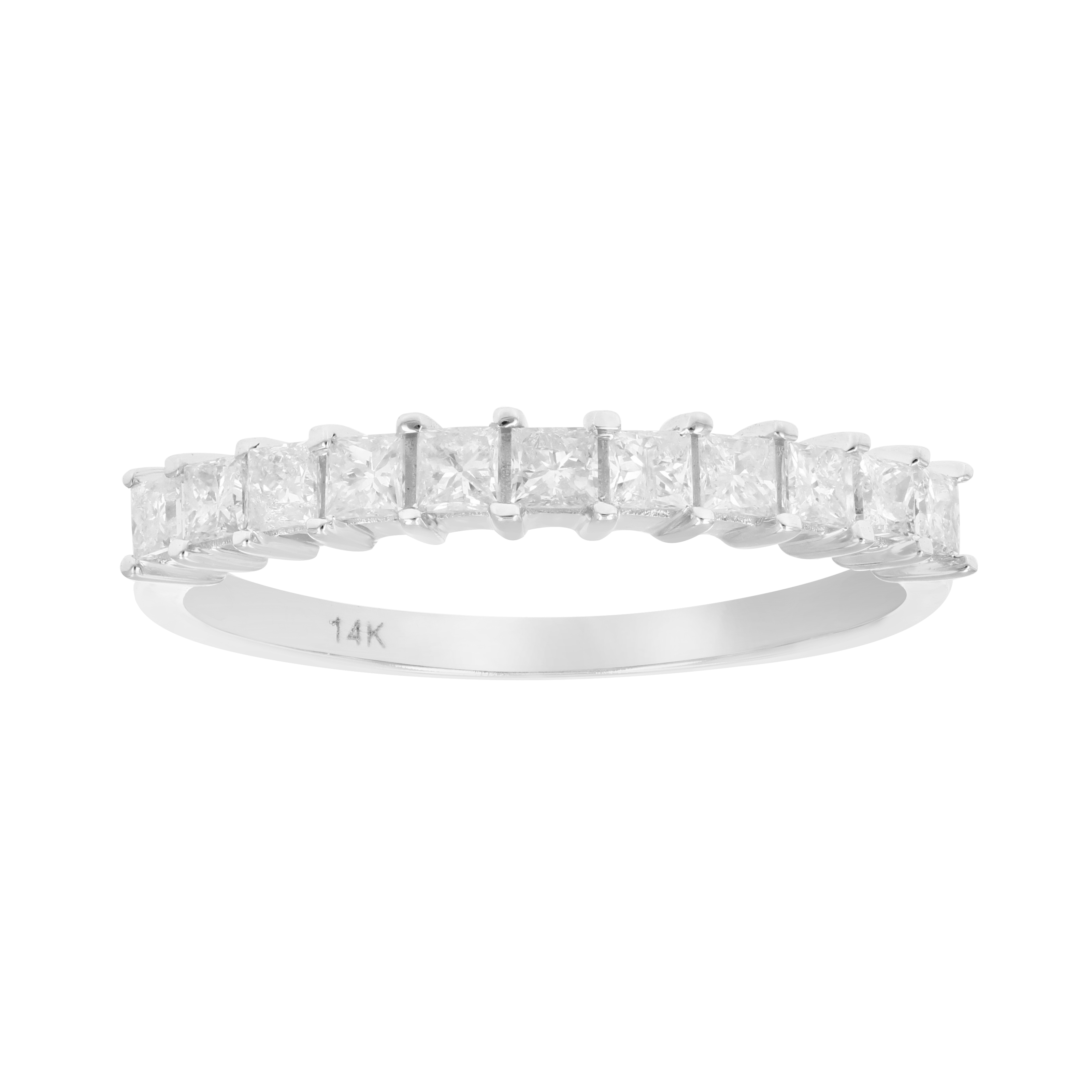 Details About 1/2 Ct Princess Cut Diamond 11 Stone Wedding/anniversary Band  In 14K White Gold Within Most Recently Released Princess Cut Diamond Anniversary Bands In Gold (Gallery 23 of 25)