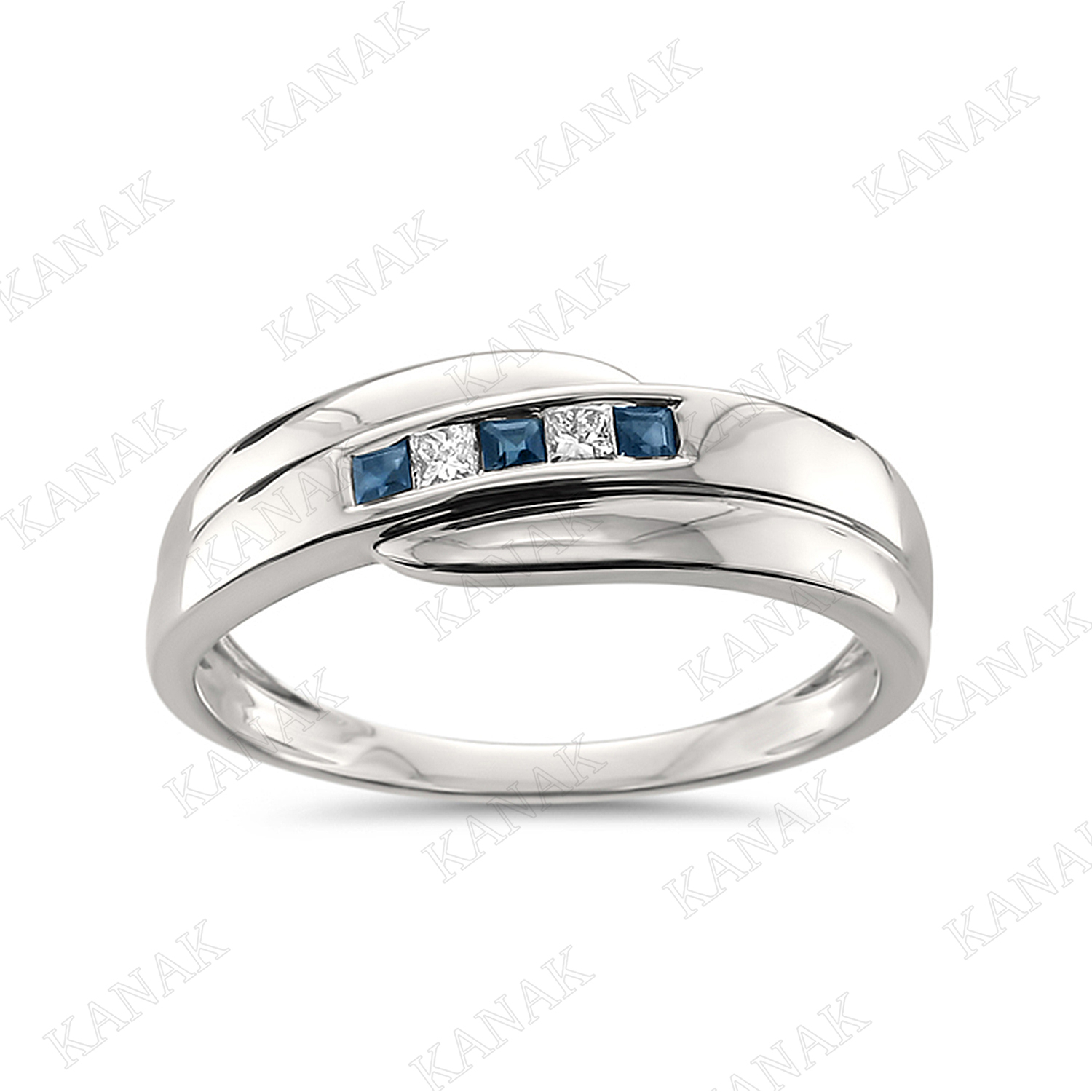 Details About 1/4 Ct Princess Cut Diamond & Sapphire Men's Wedding Band  Ring 14K White Gold Throughout Most Recent Certified Princess Cut Diamond Anniversary Bands In White Gold (Gallery 21 of 25)
