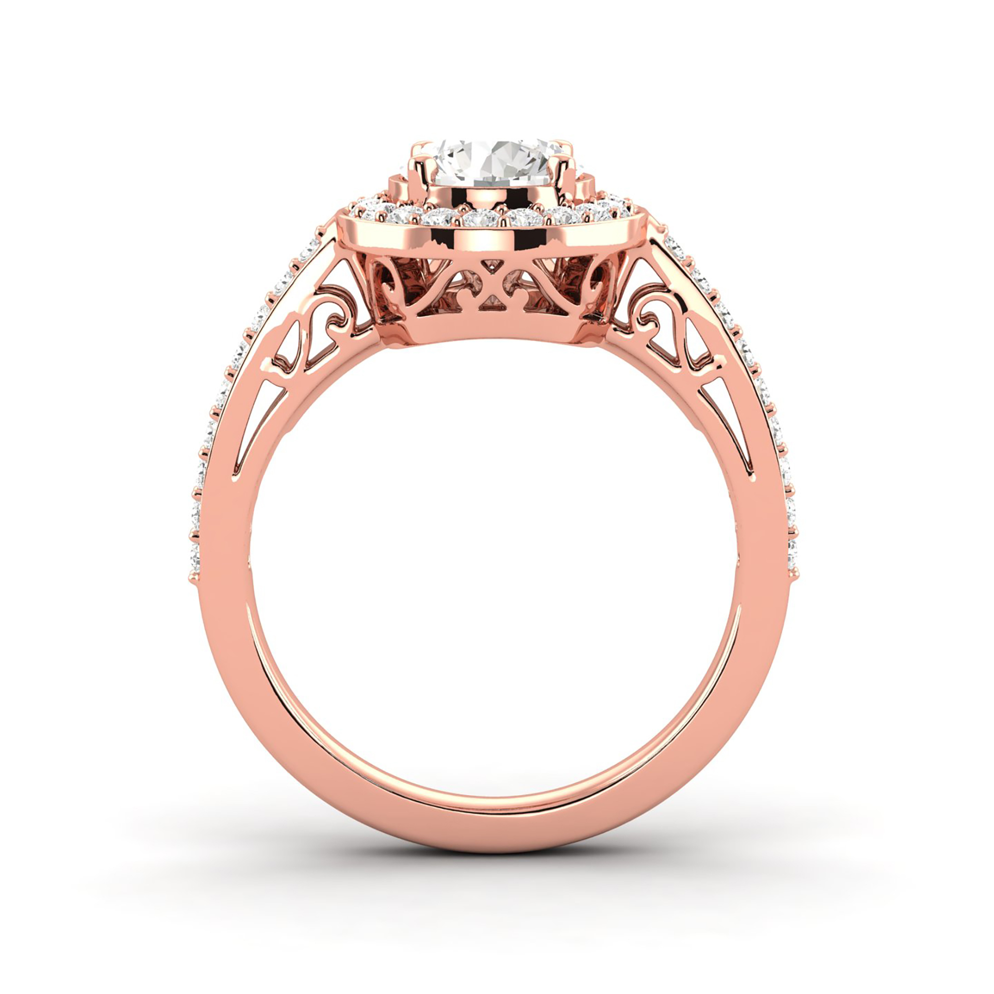 Details About 1.5 Ct G/si1 Certified Round Diamond Halo Engagement Ring 14K  Rose Gold Enhanced With Most Recently Released Enhanced Cognac Diamond Vintage Style Anniversary Bands In Rose Gold (Gallery 14 of 25)