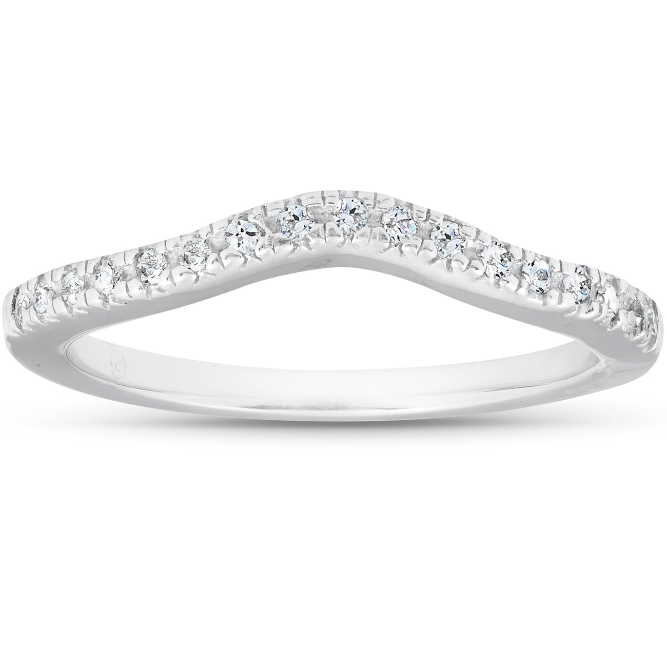 Details About 1/8 Ct Curved Diamond Contour Wedding Engagement Notched Ring 14k White Gold With Regard To Most Current Certified Princess Cut Diamond Contour Anniversary Bands In White Gold (View 6 of 25)