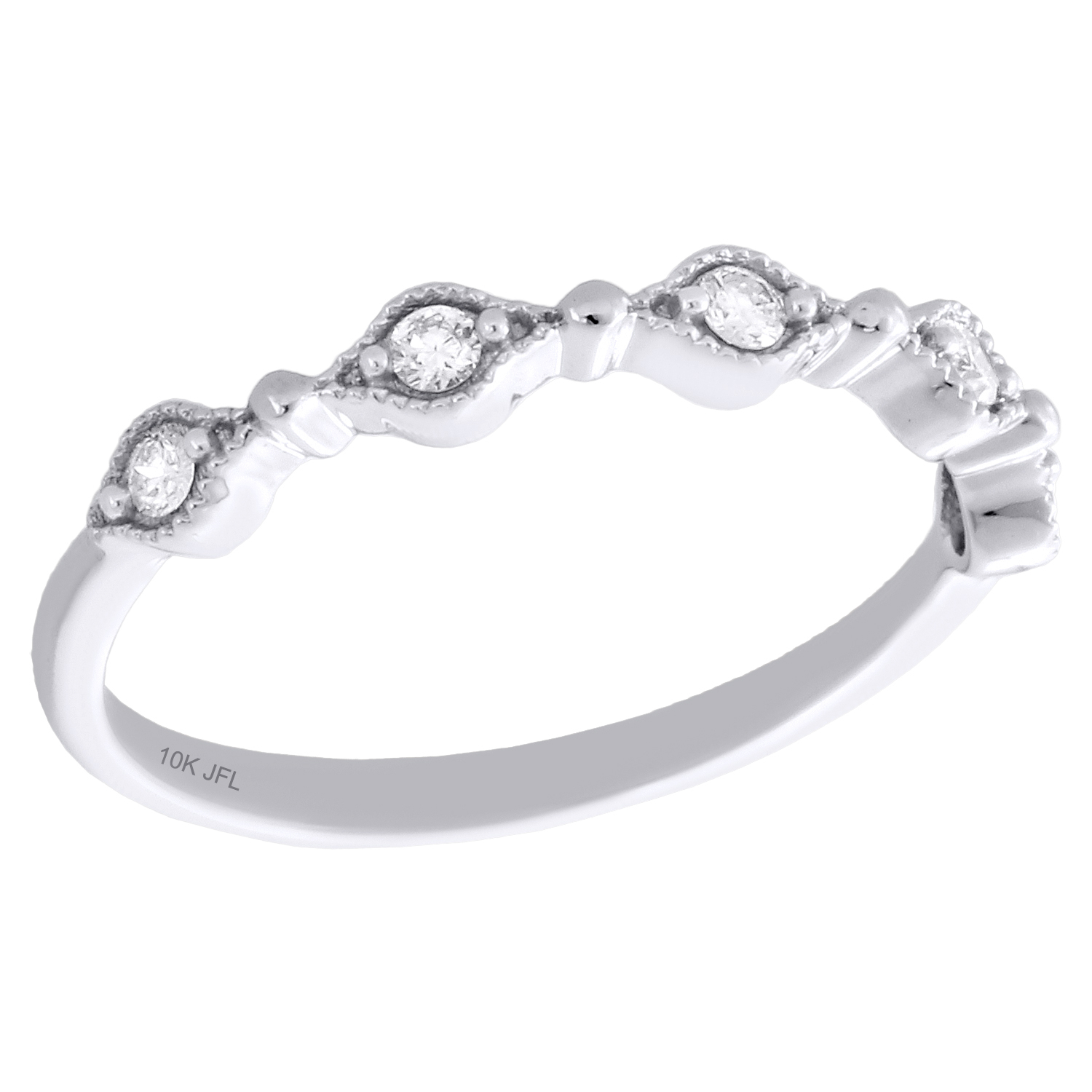 Details About 10K White Gold Diamond Anniversary Ring Stackable Milgrain  Wedding Band 1/8 Ct. Within Recent Diamond And Milgrain Anniversary Bands In White Gold (Gallery 22 of 25)