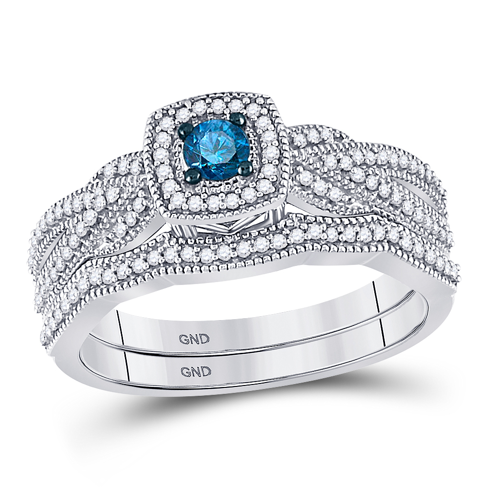 Details About 10k White Gold Round Blue Diamond Bridal Wedding Engagement Ring Set 3/8 Ctw With Current Enhanced Blue And White Diamond Anniversary Bands In White Gold (View 16 of 25)