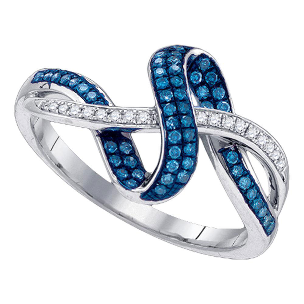 Details About 10k White Gold Womens Round Blue Color Enhanced Diamond Band Fashion Ring 1/4 Inside Latest Enhanced Blue And White Diamond Anniversary Bands In White Gold (View 8 of 25)