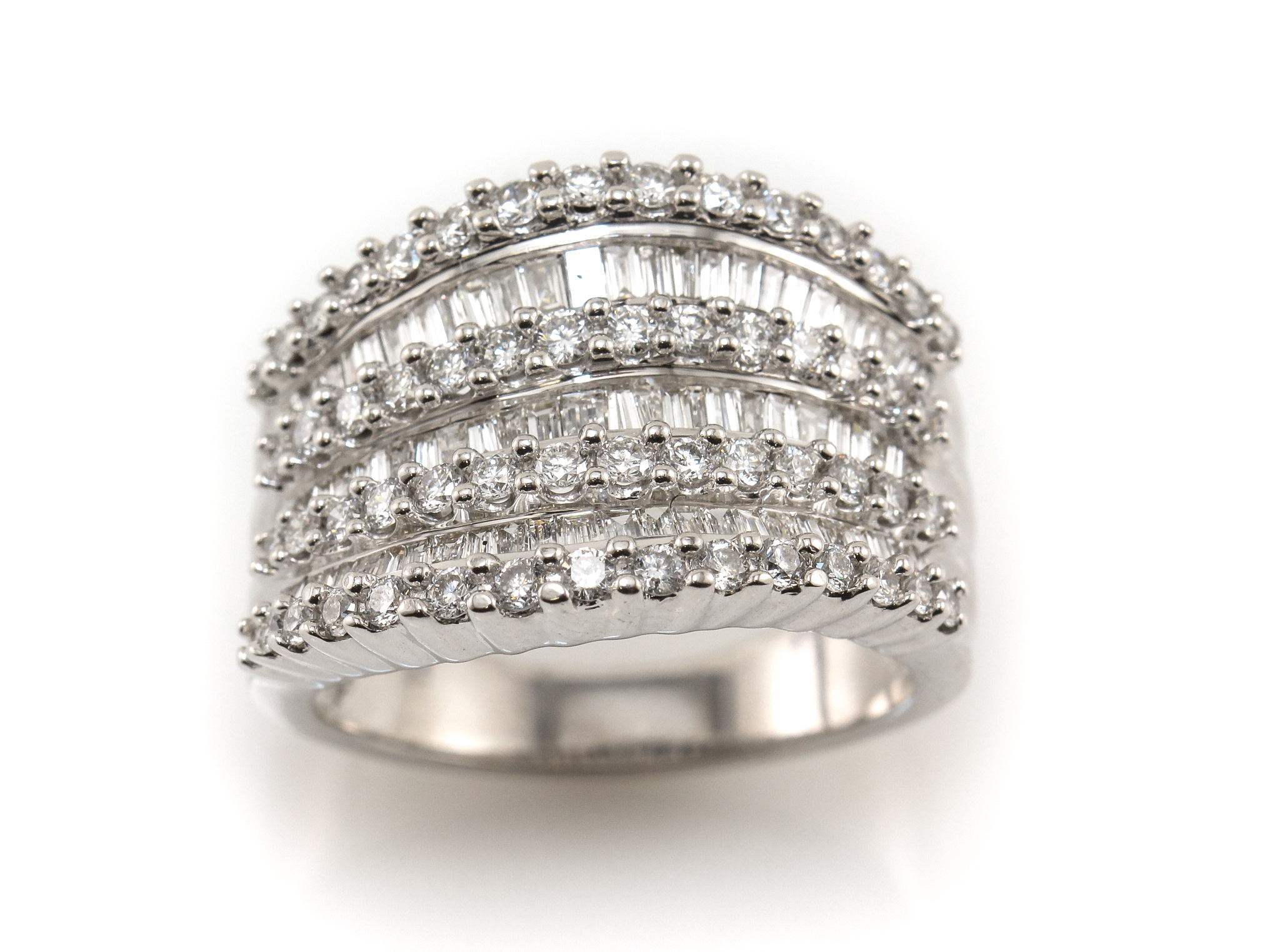 Details About 14K Diamond Ring White Gold Wide Multi Row Inside 2019 Baguette And Round Diamond Alternating Multi Row Anniversary Bands In White Gold (Gallery 3 of 25)