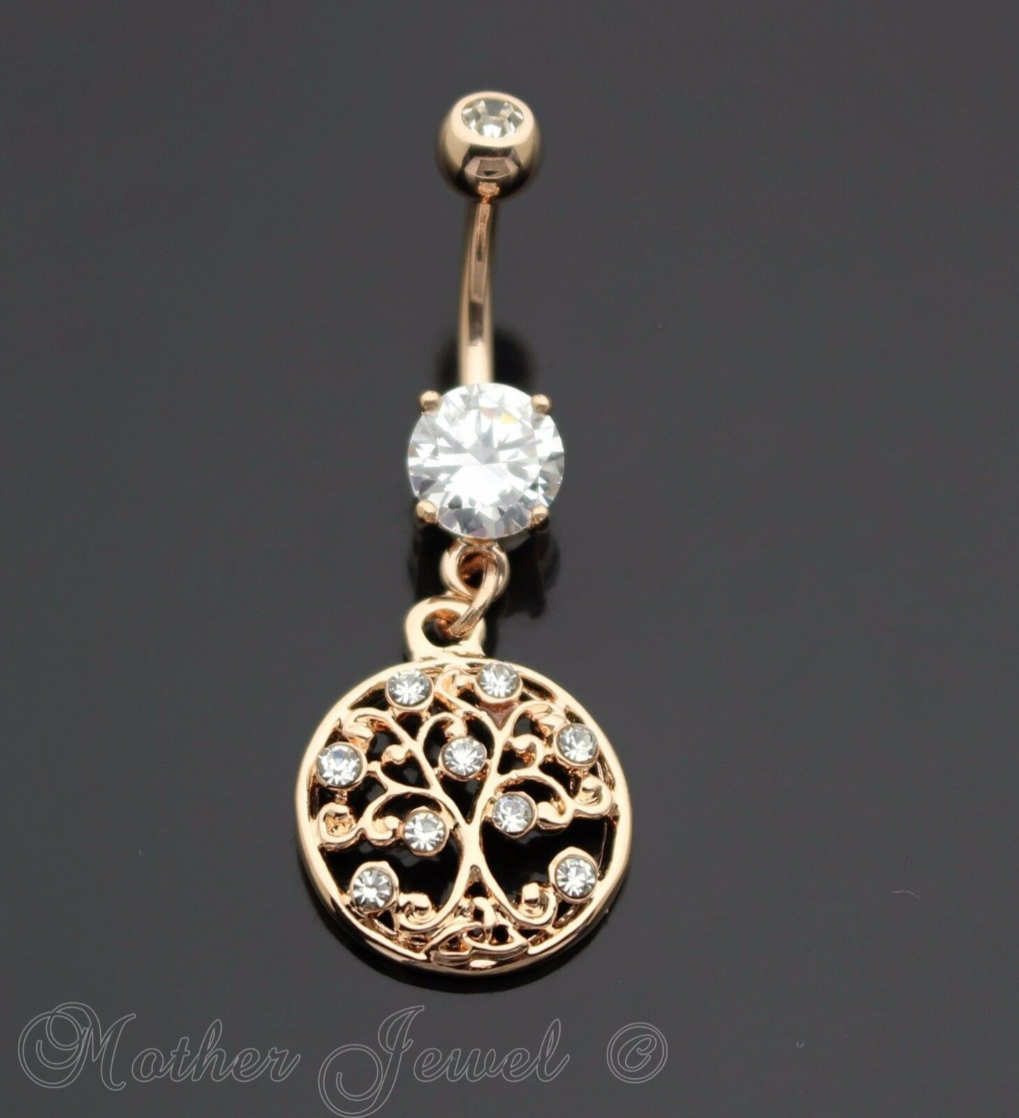 Details About 14k Rose Gold Triple Plate Round Family Tree Of Life Dangle Belly Navel Ring Inside Latest Dangling Family Tree Rings (View 3 of 25)
