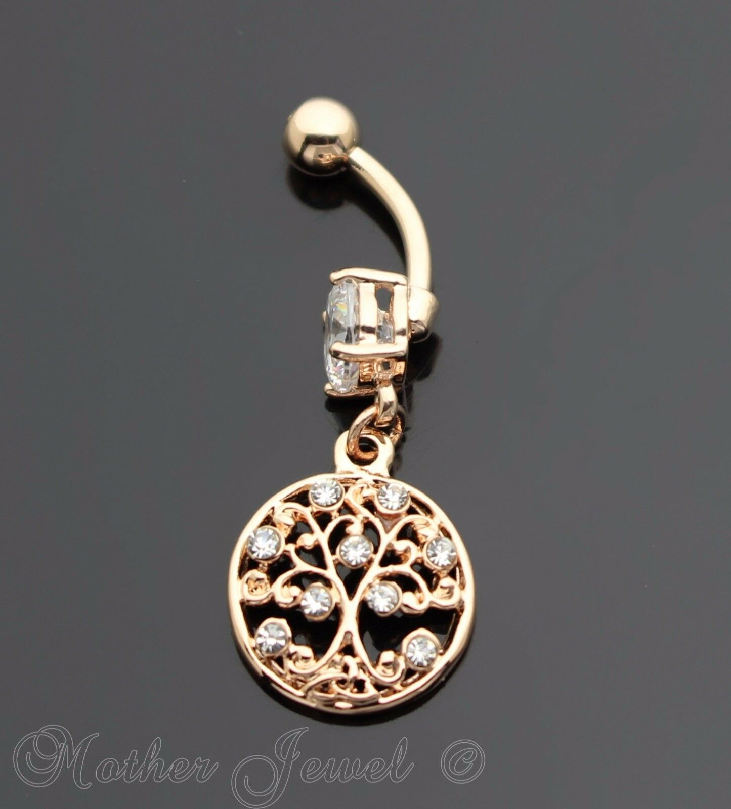 Details About 14K Rose Gold Triple Plate Round Family Tree Of Life Dangle  Belly Navel Ring Within Most Up To Date Dangling Family Tree Rings (View 8 of 25)
