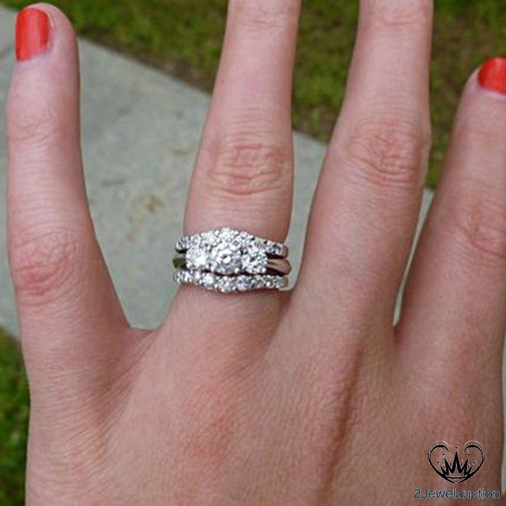 Details About 14K White Gold Over Diamond Three Stone With Regard To Best And Newest Diamond Vintage Style Three Row Anniversary Bands In Gold (Gallery 11 of 25)