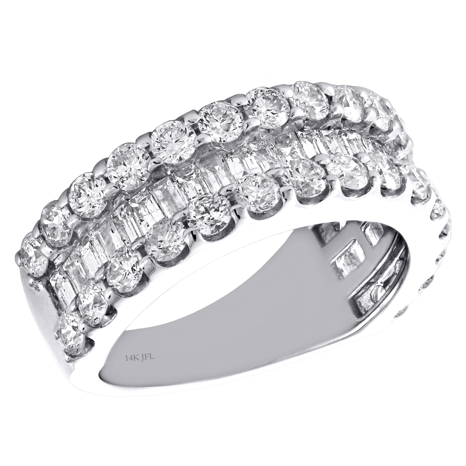 Details About 14K White Gold Tapered Baguette Round Diamond 3 Row Women's  Wedding Band  (View 15 of 25)