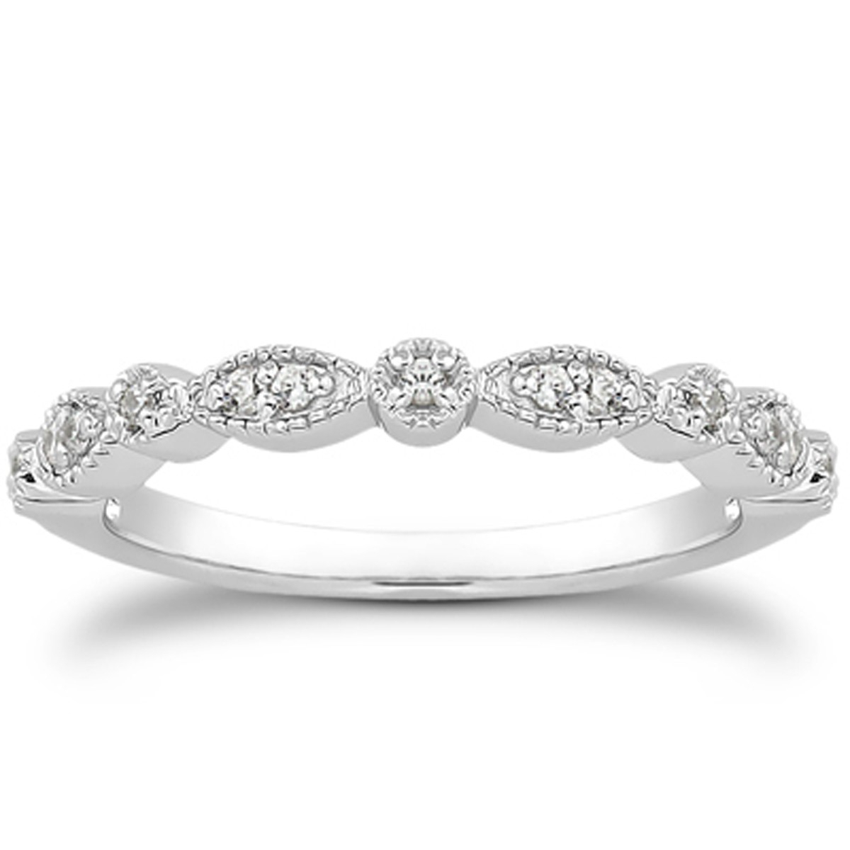 Details About 14k White Gold Vintage Style Fancy Pave Diamond Milgrain Wedding Ring Band Regarding Most Current Diamond Accent Milgrain Anniversary Bands In White Gold (View 11 of 25)
