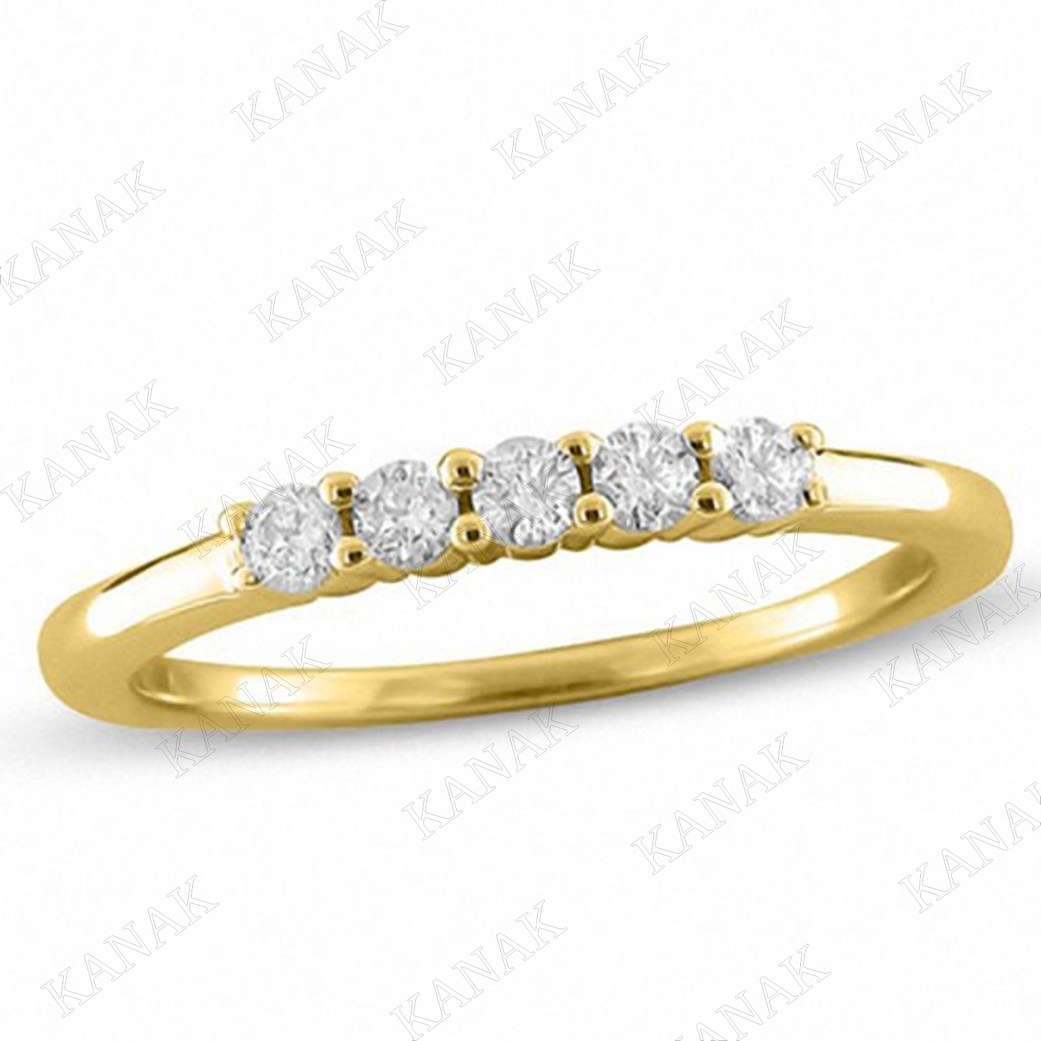 Details About 14K Yellow Gold 1/4 Ct Round Diamond Five Stone Wedding Band  Anniversary Ring With Regard To Newest Diamond Five Stone Anniversary Bands In Gold (View 16 of 25)