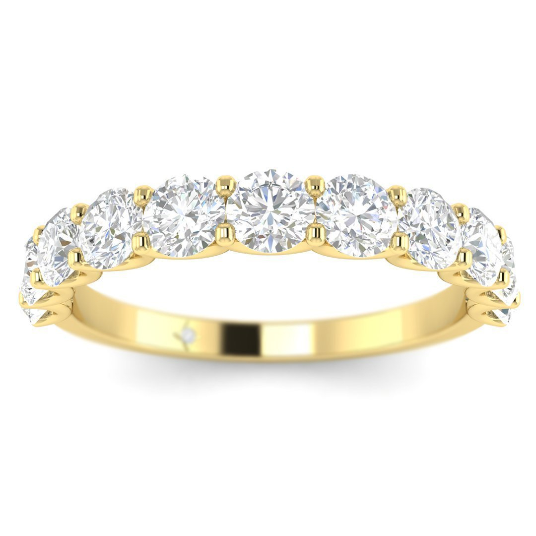 Details About 14K Yellow Gold Shared Prong Semi Eternity Women's Diamond  Wedding Band Ring Intended For Latest Diamond Bubble Five Stone Anniversary Bands In White Gold (View 15 of 25)