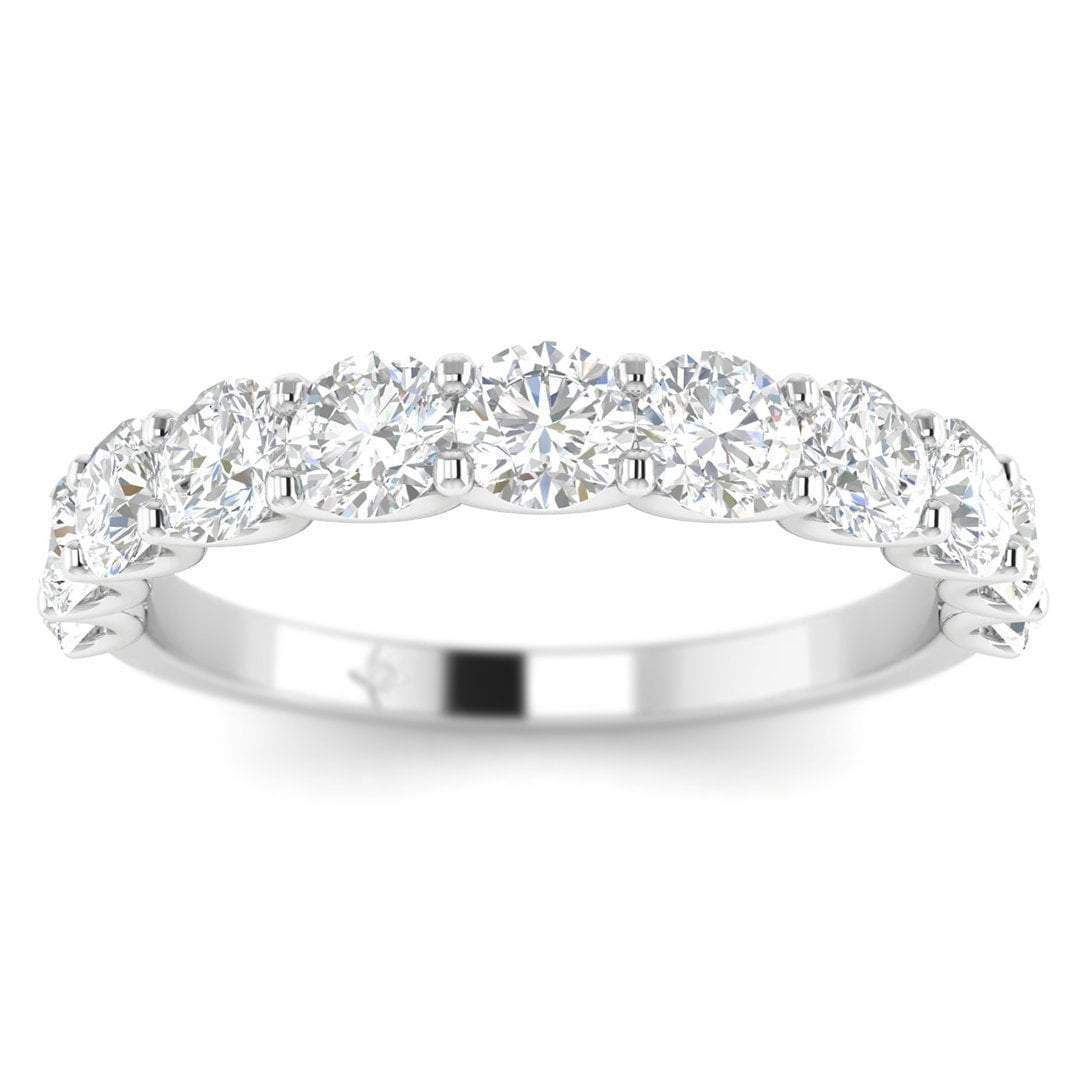 Details About 18K White Gold Shared Prong Semi Eternity Women's Diamond  Wedding Band Ring With Best And Newest Diamond Anniversary Bands In White Gold (Gallery 4 of 25)