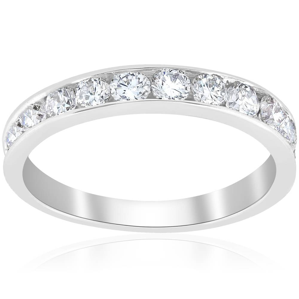 Details About 1Ct Diamond Wedding Ring 14K White Gold Channel Set Womens  Anniversary Band Pertaining To 2020 Diamond Channel Set Anniversary Bands In White Gold (View 15 of 24)