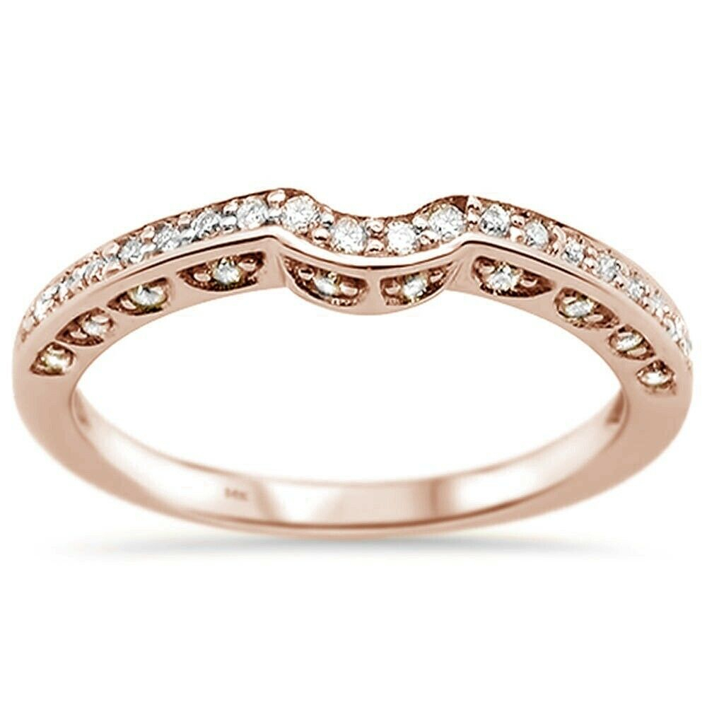 Details About .20Ct F Si 14K Rose Gold Diamond Curved Accent Anniversary  Wedding Band Ring Within Most Up To Date Certified Diamond Anniversary Bands In Rose Gold (Gallery 19 of 25)