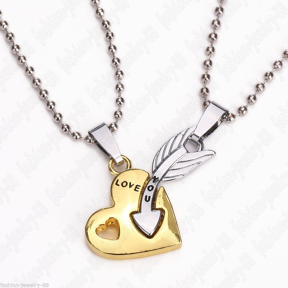 Details About 2pc Heart And Arrow Couple Necklace Set His Hers In 2019 Interlocked Hearts Locket Element Necklaces (View 11 of 25)