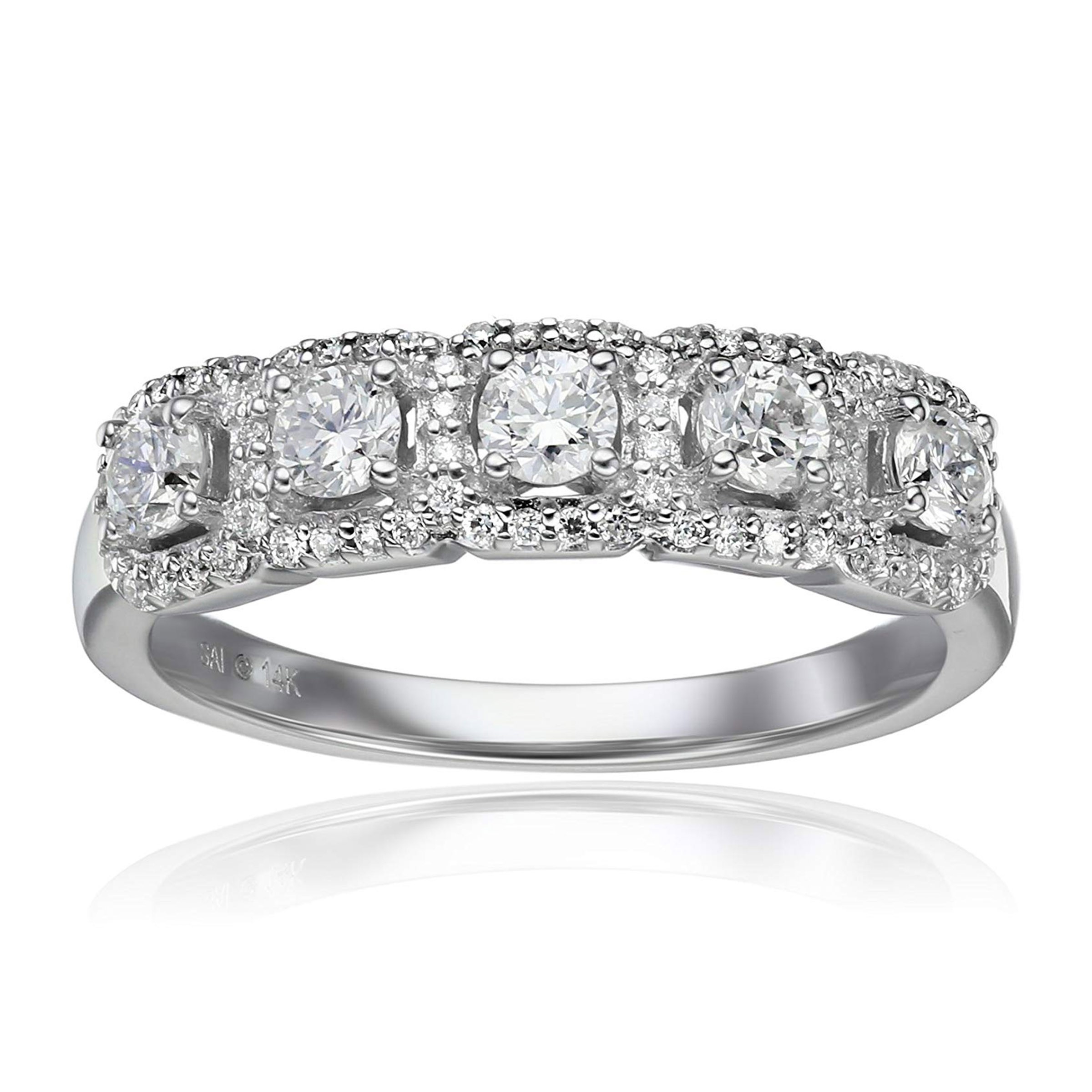 Details About 3/4 Ct Diamond Five Face Anniversary Ring In 14K White Gold For Best And Newest Diamond Three Row Anniversary Rings In White Gold (Gallery 16 of 25)