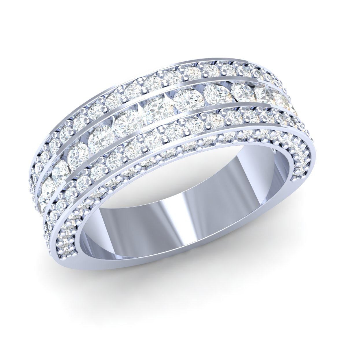 Details About 3Ctw Genuine Round Diamond Men's Side Accent Channel Wedding  Band 10K White Gold Inside Latest Diamond Accent Channel Anniversary Bands In White Gold (View 16 of 25)